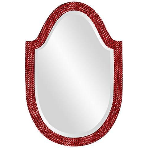 "Howard Elliott Lancelot 21"" x 32"" Red Arched Wall Mirror"