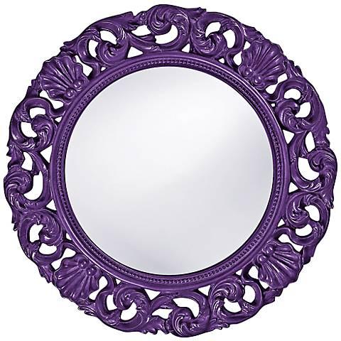 "Howard Elliott Glendale 26"" Round Royal Purple Wall Mirror"