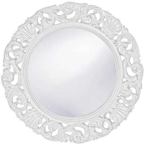 "Howard Elliott Glendale 26"" Round White Wall Mirror"