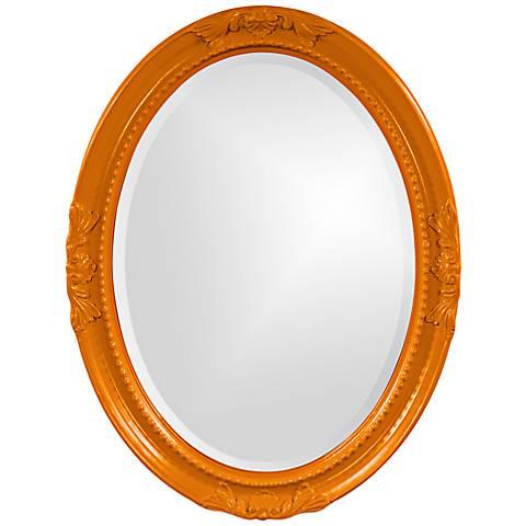 """Howard Elliott Queen Ann Orange 25"""" x 33"""" Oval Wall Mirror"""