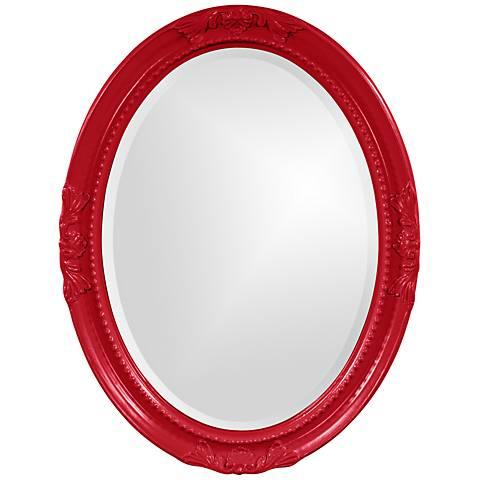 """Howard Elliott Queen Ann Red 25"""" x 33"""" Oval Wall Mirror"""