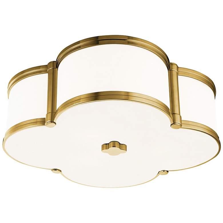 "Hudson Valley Chandler 16 3/4""W Aged Brass Ceiling Light"