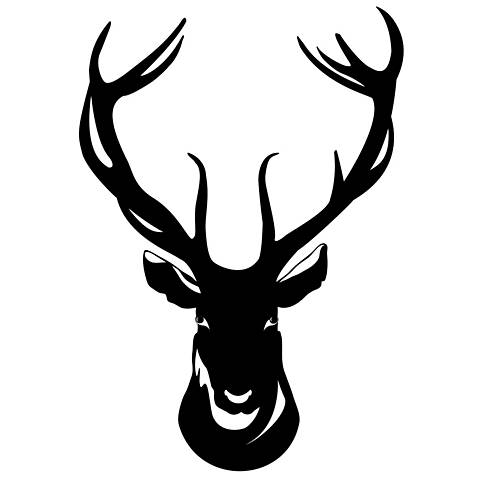 Deer Bust Black Wall Decal