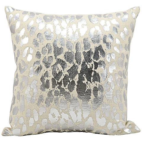 "Kathy Ireland Mine 18"" Square Decorative Silver Pillow"