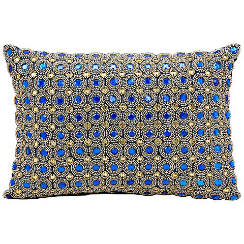 "Kathy Ireland Savvy 10"" x 14"" Sapphire Blue Pillow"