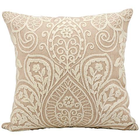 """Kathy Ireland Luxury 18"""" Square Blush Pillow"""