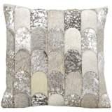 "Kathy Ireland Legacy 20"" Square Silver Gray Pillow"