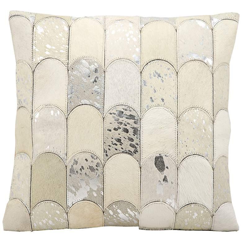 """Kathy Ireland Legacy 20"""" Square White Silver Pillow"""