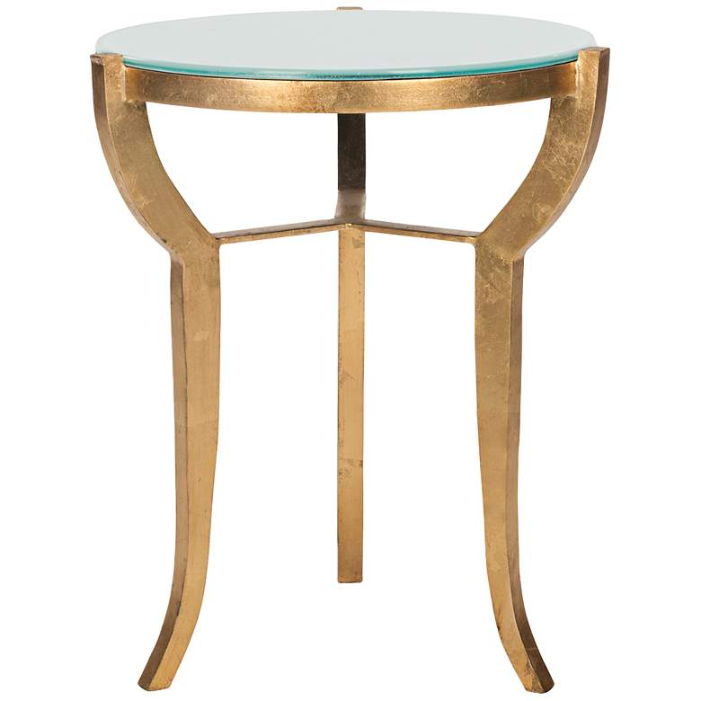 """Malonton 16 1/2"""" Wide Gold and White Glass Accent Table"""