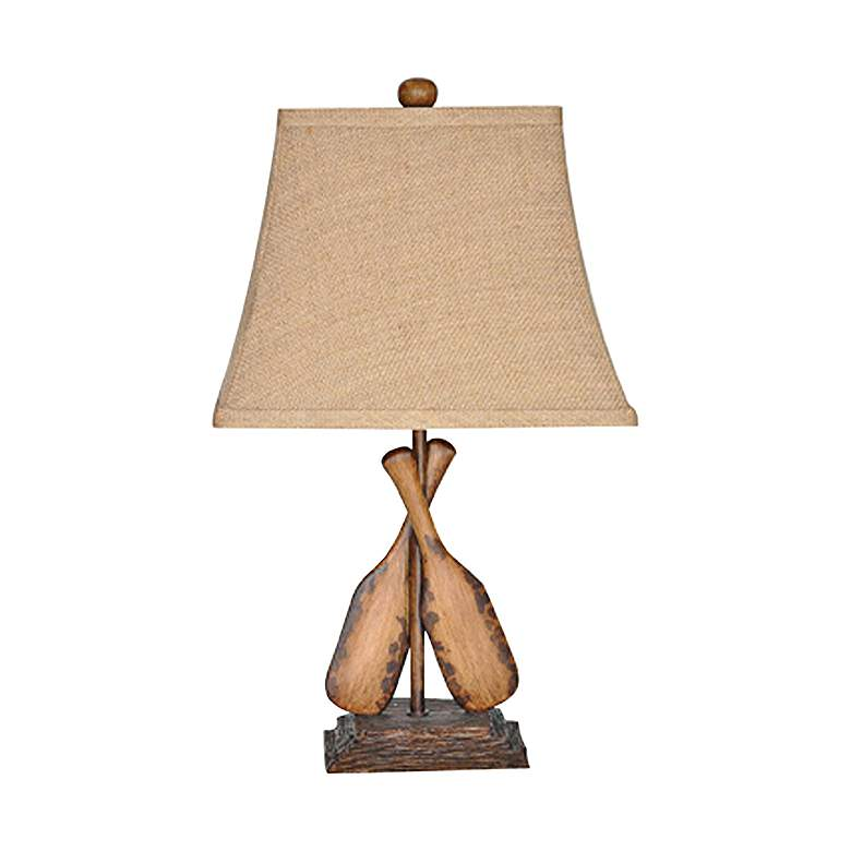 Crestview Collection Oar Aged Wood and Burlap Table Lamp