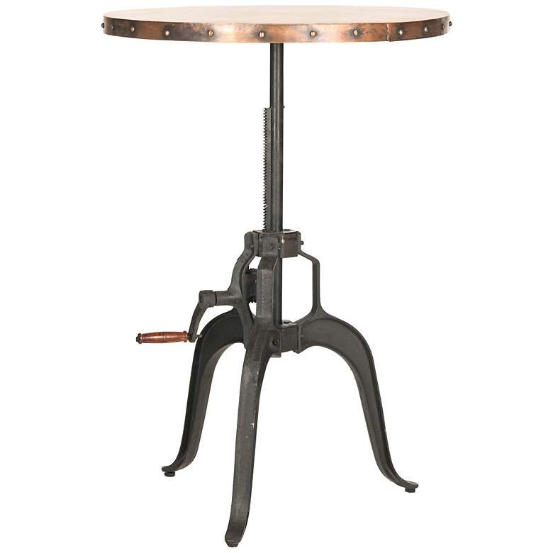 "Shohan 30"" Wide Adjustable Height Copper Iron Crank Table"
