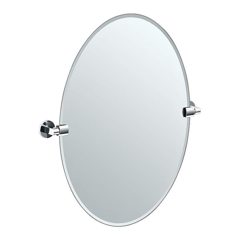 """Gatco Chrome Zone 24"""" x 26 1/2"""" Oval Wall Mirror"""