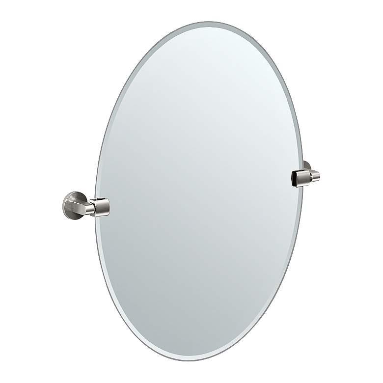 "Gatco Satin Nickel 24"" x 26 1/2"" Oval Tilt Wall Mirror"