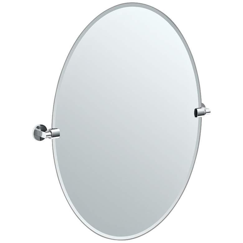 """Gatco Chrome Zone 28 1/2"""" x 32"""" Oval Wall Mirror"""