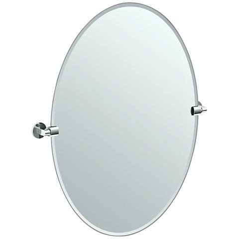 "Gatco Chrome Zone 28 1/2"" x 32"" Large Oval Wall Mirror"