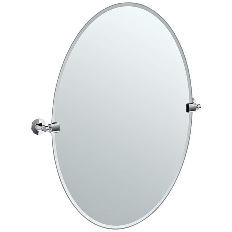 "Gatco Max Chrome 23 1/2"" x 26 1/2"" Oval Vanity Wall Mirror"