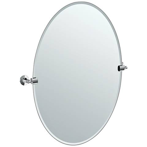 "Gatco Max Chrome 23 1/2"" x 26 1/2"" Large Oval Wall Mirror"