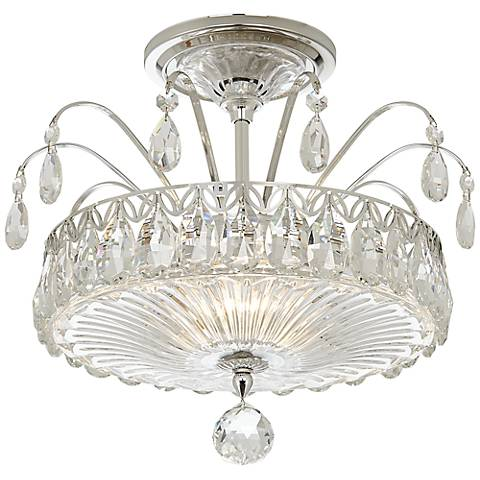 """Schonbek Fontana Luce 11 1/2""""W Silver Crystal Ceiling Light"""