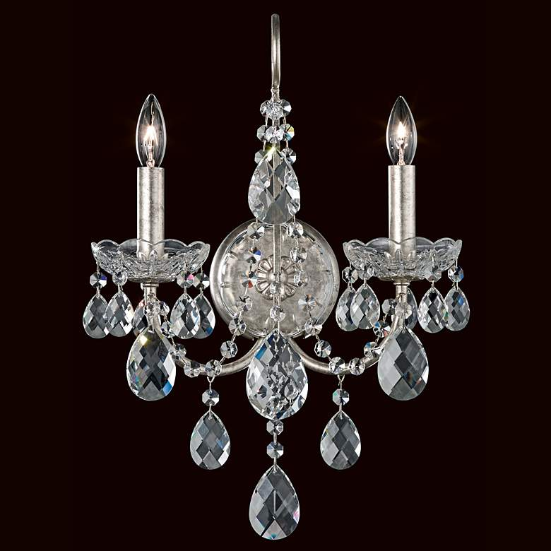 "Schonbek Sonatina 17"" High Silver Crystal Wall Sconce"