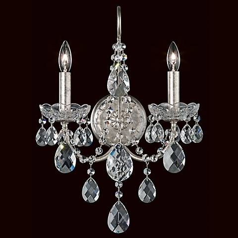 "Schonbek Sonatina 17"" High Silver Crystal Wall Sconce"