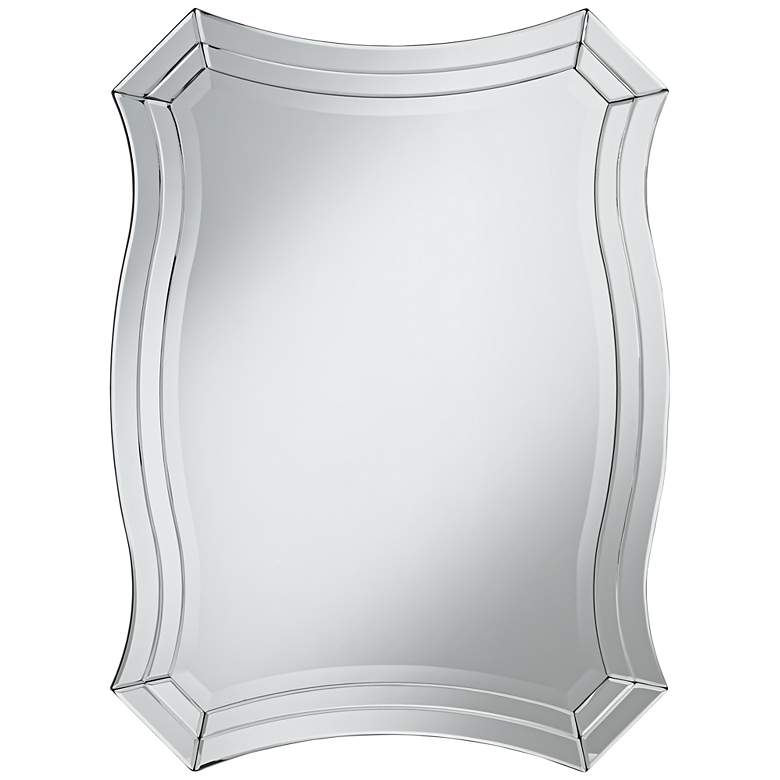 """Idell Black 23 1/2"""" x 32"""" Scalloped Side Wall Mirror"""
