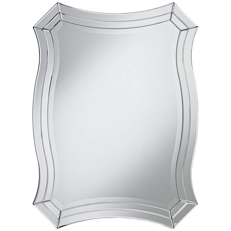 """Possini Euro Idell 23 1/2"""" x 32"""" Scalloped Wall Mirror"""