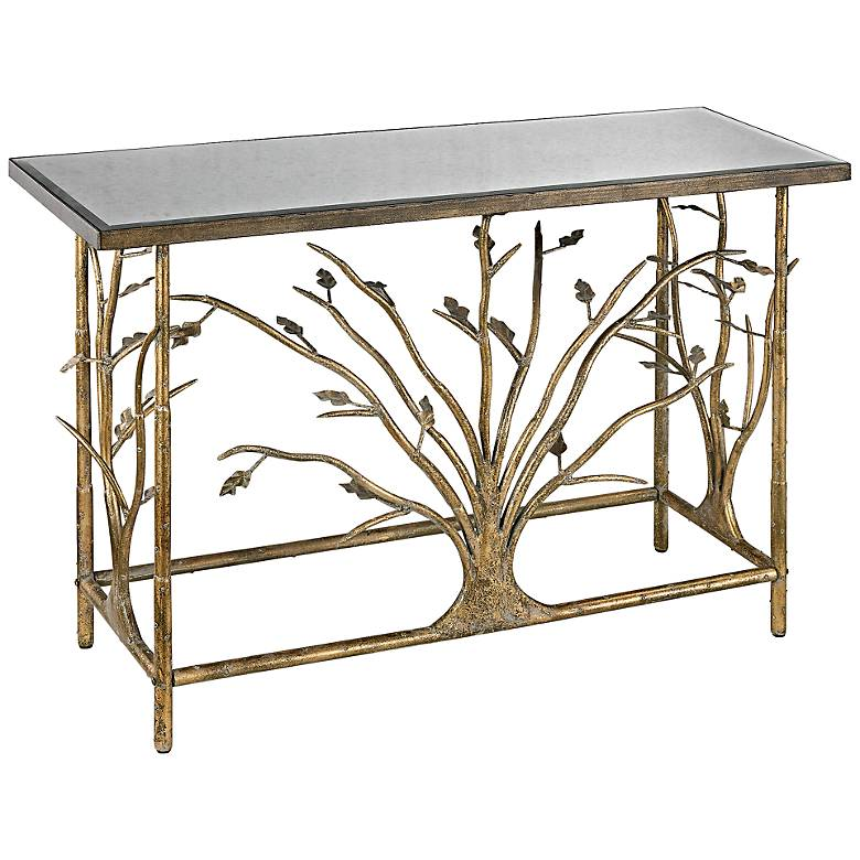"""Branch Collection 47"""" Wide Gold Leaf Console Table"""