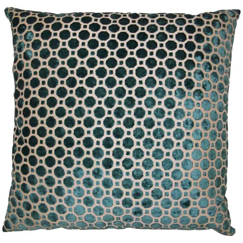 "Velvet Geo Turquoise 20"" Square Decorative Pillow"