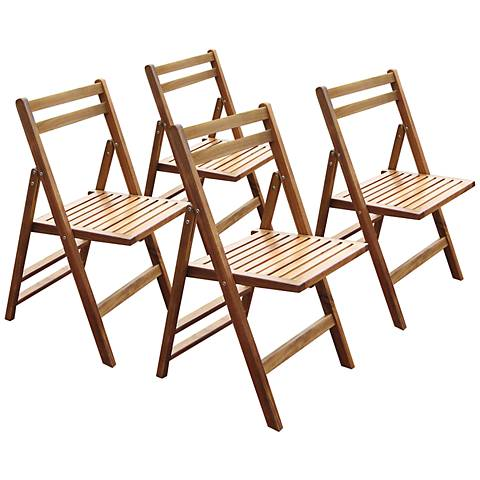 Chesterland Acacia Outdoor Folding Dining Chair Set of 4