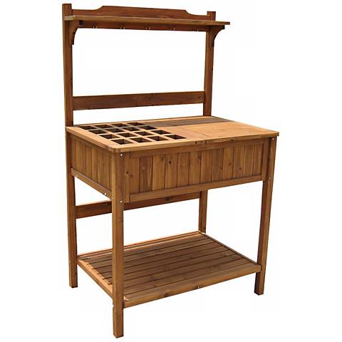 Fall River Natural Outdoor Recessed Storage Potting Bench