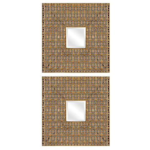 """Uttermost Adelina 18"""" Square Wall Mirrors Set of 2"""