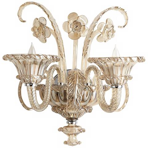 "La Scala 17 3/4"" High Cognac Murano Style Glass Wall Sconce"