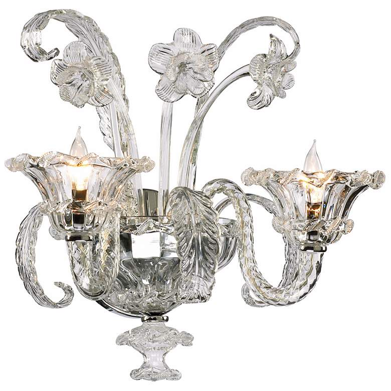 """La Scala 17 3/4"""" High Clear Murano Style Glass Wall Sconce"""
