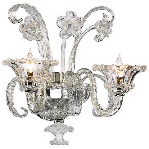 "La Scala 17 3/4"" High Clear Murano Style Glass Wall Sconce"
