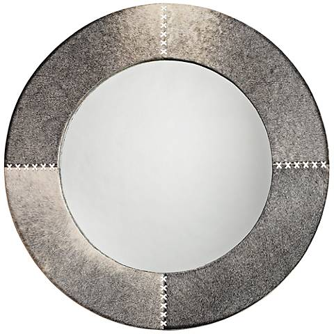 "Jamie Young Cross Stitch 36"" Round Gray Hide Wall Mirror"