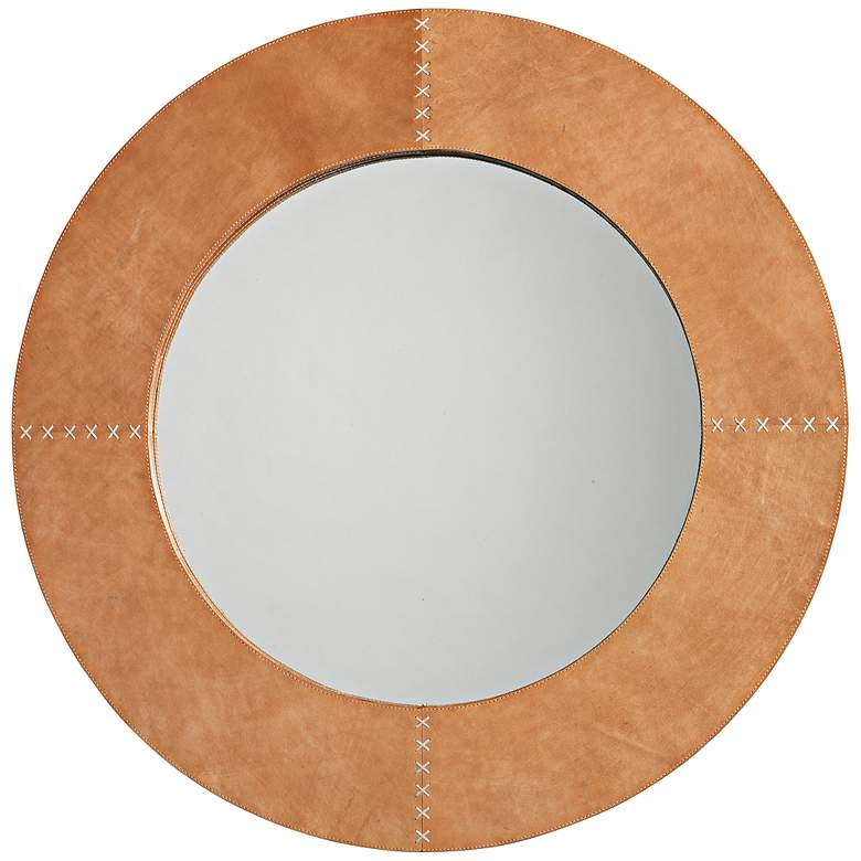 """Jamie Young Cross Stitch Brown Hide 36"""" Round Wall Mirror"""