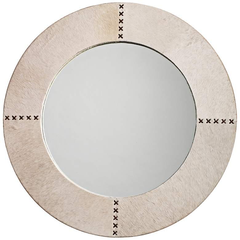 "Jamie Young Cross Stitch White Hide 36"" Round Wall Mirror"