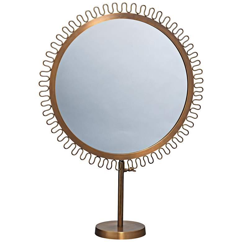 Jamie Young Brass Sunburst Standing Makeup Mirror