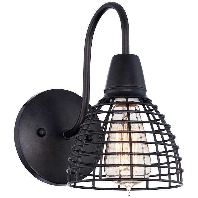"""Metal Grid 9 3/4"""" High Bronze Wall Sconce"""