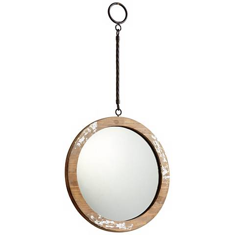 "Thru the Looking Glass 9"" Round Antique White Wall Mirror"