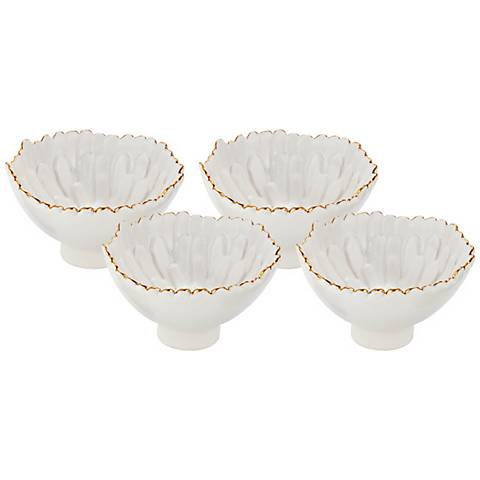 Mum Small White Ceramic Footed Bowls Set of 4