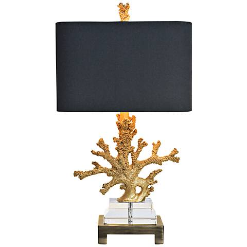 Couture Coral Gold and Brass Table Lamp