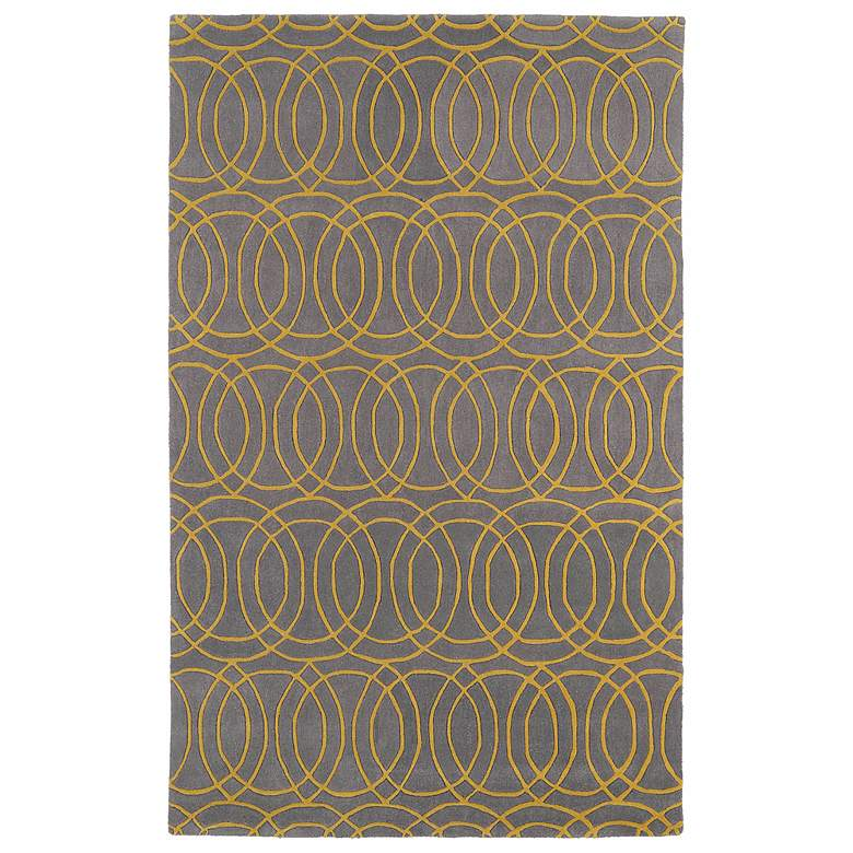"Kaleen Revolution REV02-28 5'x7'9"" Gray and Yellow Area rug"