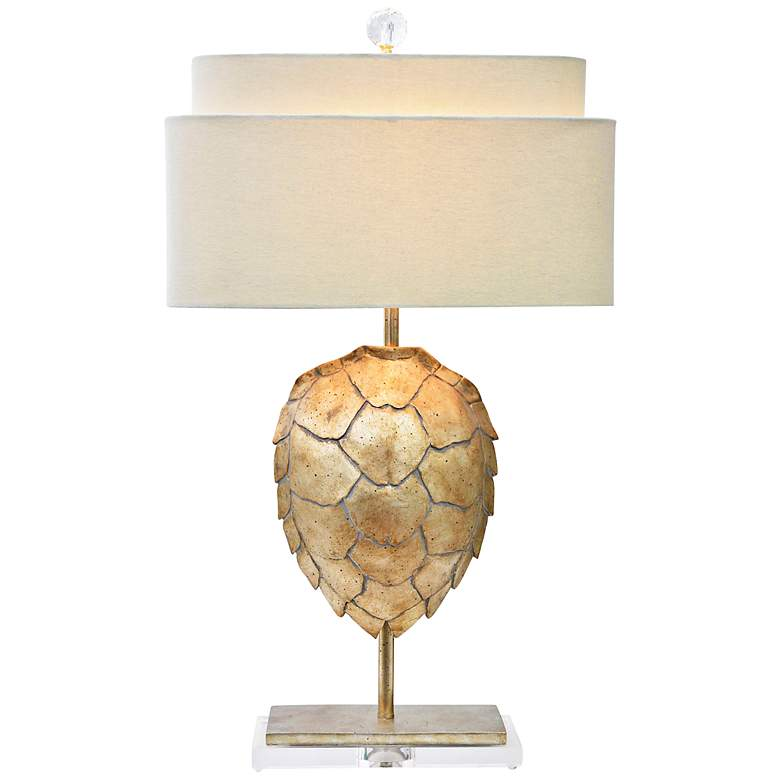 Couture India Silver Tortoise Shell Table Lamp