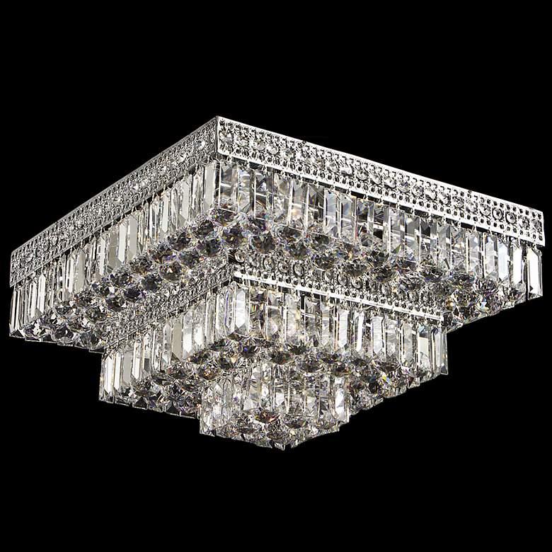 "Berlin 21"" Square Flush Mount Crystal Ceiling Light"