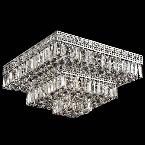 "Berlin 21"" Square Flush Mount Crystal Ceiling Light"