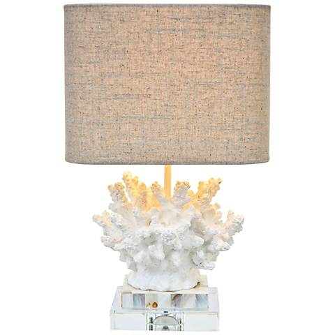 "Couture Wayfarer 17""H Coral Mother of Pearl Accent Lamp"