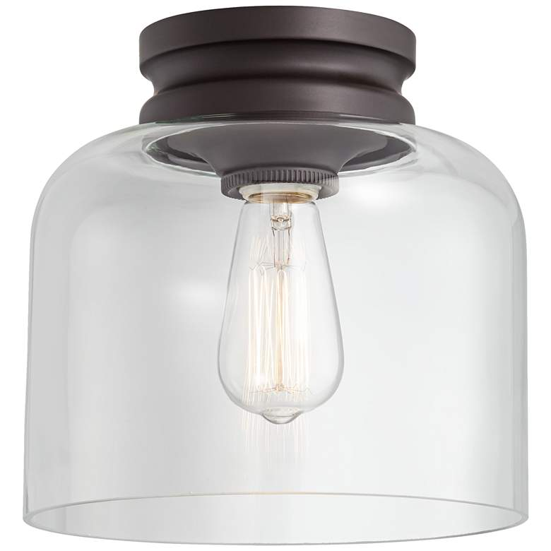 """Feiss Hounslow 9"""" High Bronze and Clear Glass Ceiling Light"""