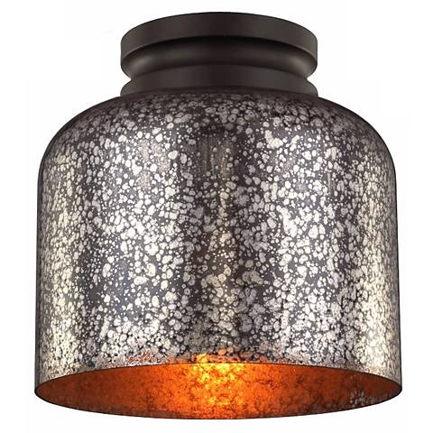 "Feiss Hounslow 9"" High Bronze and Plated Glass Ceiling Light"