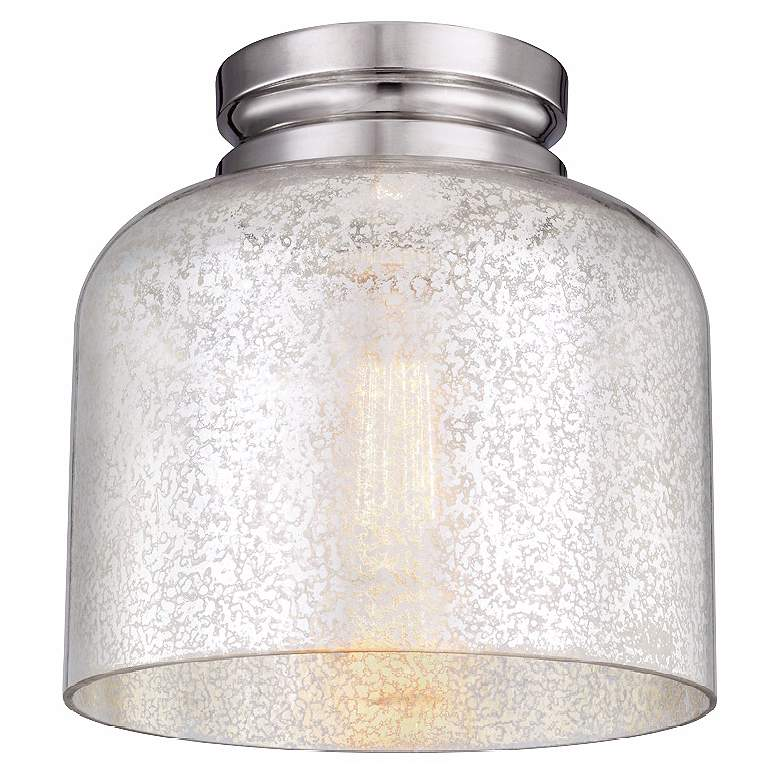 """Feiss Hounslow 9"""" High Nickel and Plated Glass Ceiling Light"""